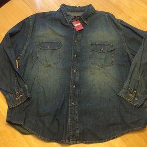 Arizona Jean Co NWT Denim Shirt 100% Cotton Men XL